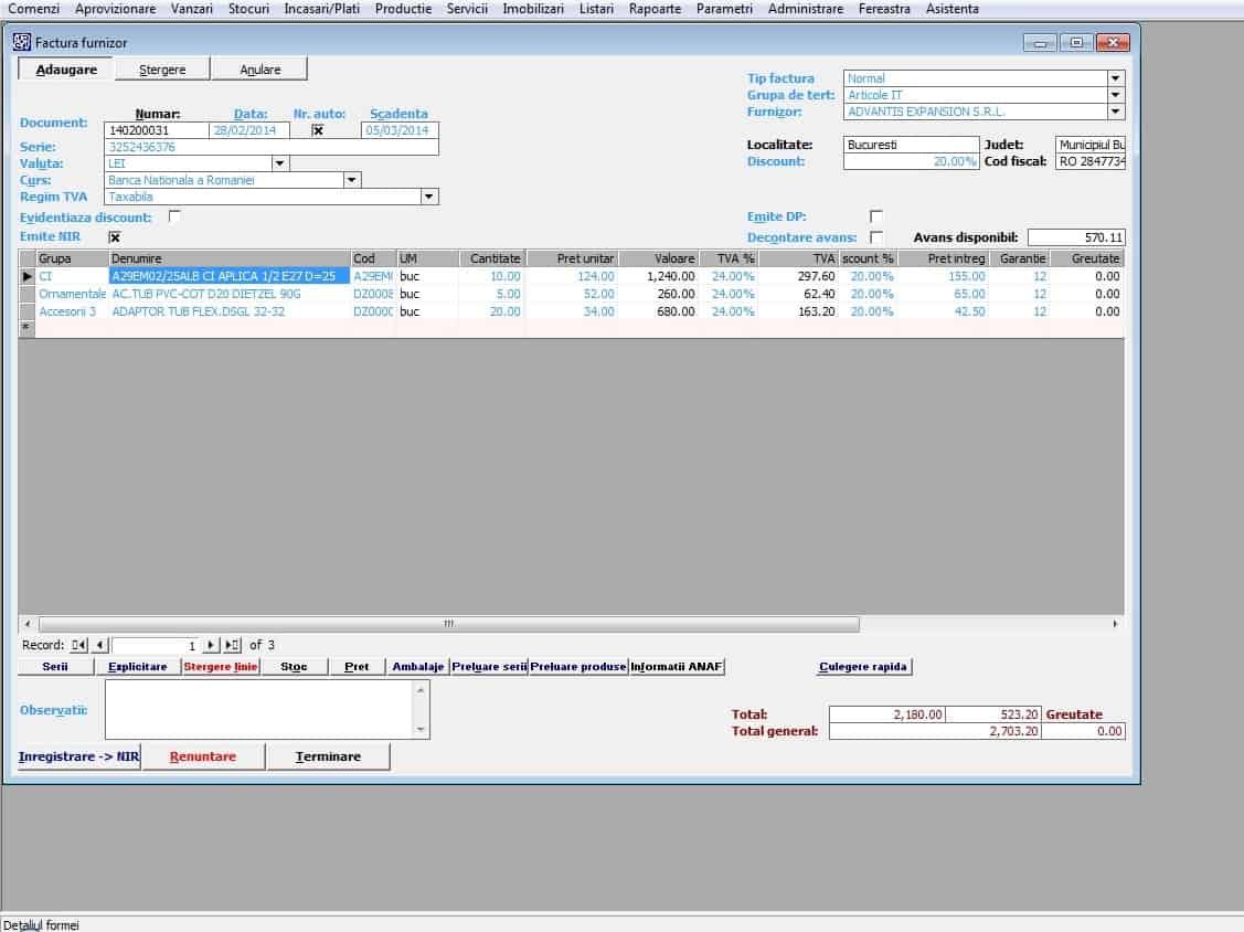 ERP Aprovizionare -Transart B-Org