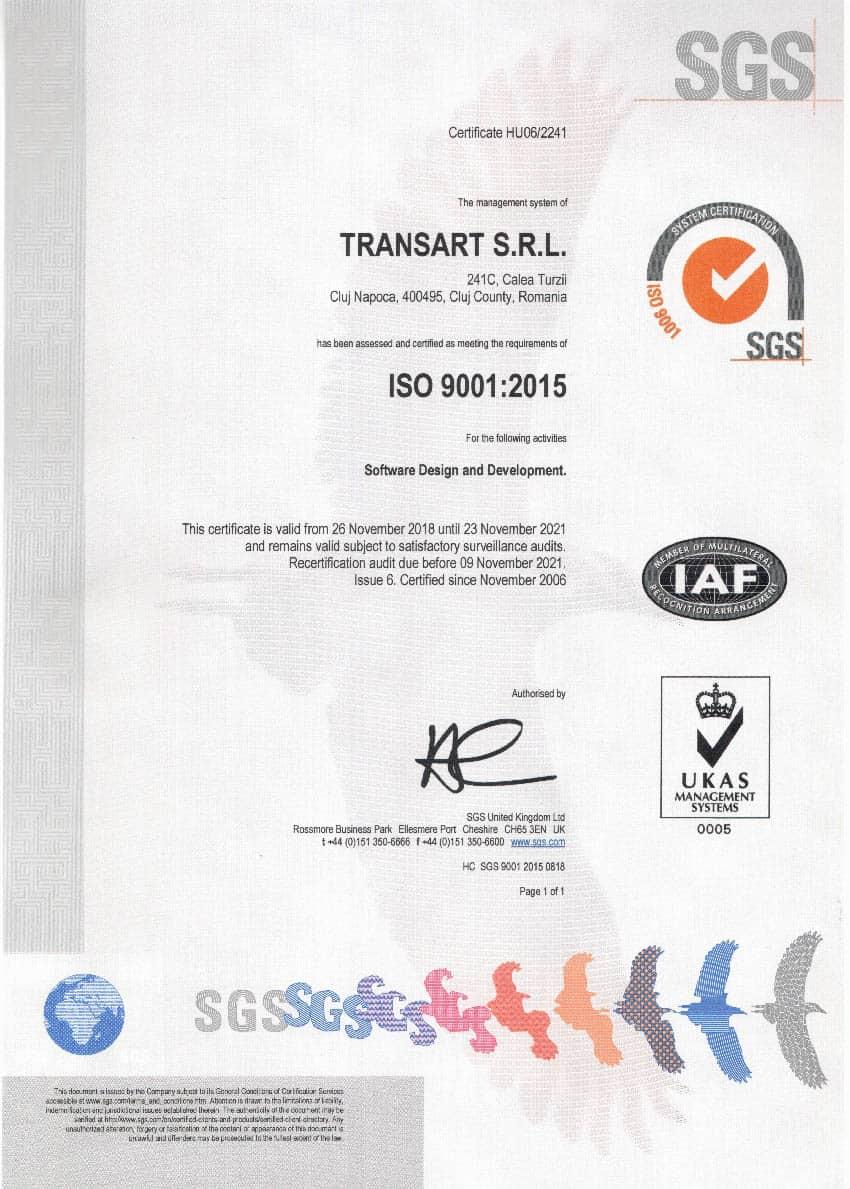 Certificat ISO Transart